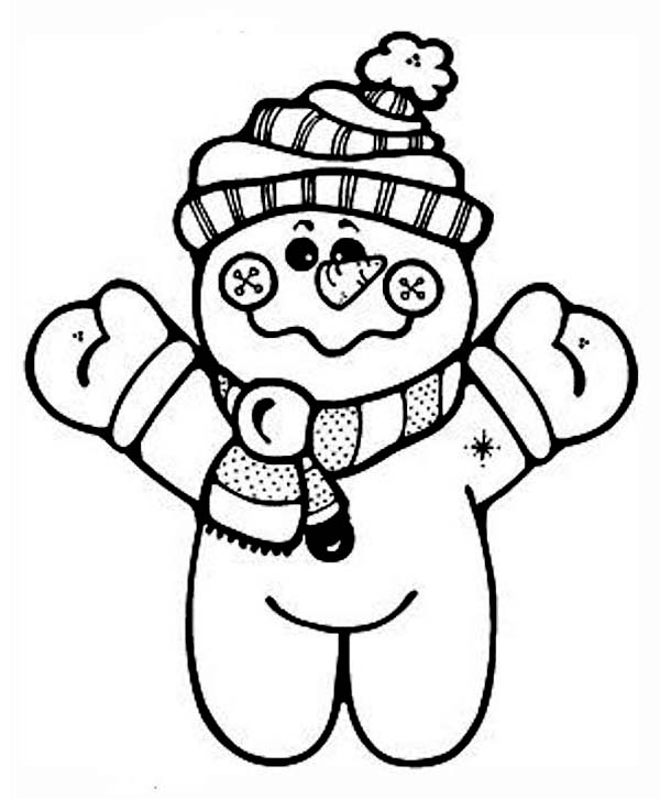 Winter Season, : Lovely Mr Snowman Doll in Winter Season Outfit Coloring Page