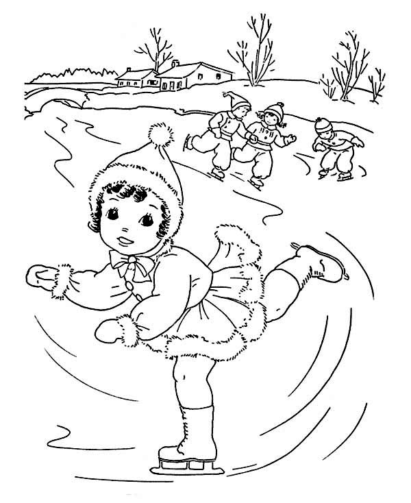 Winter Season, : Lovely Young Little Girl Playing Ice Skating on Winter Season Coloring Page