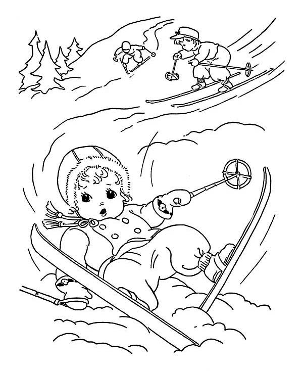 Winter Season, : Lovely Young Little Kid Slip Down While Skiing on Winter Season Coloring Page