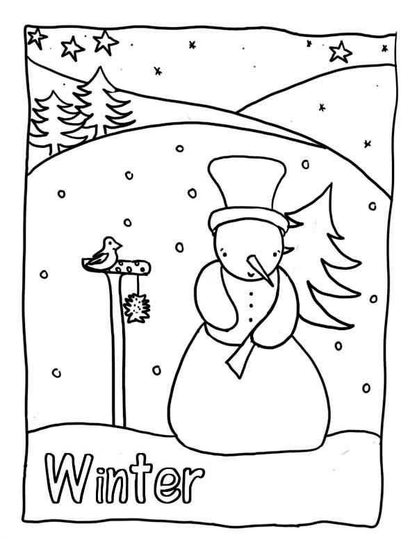 Winter Season, : Mr Snowman Holding a Pine Tree on Heavy Winter Season Coloring Page