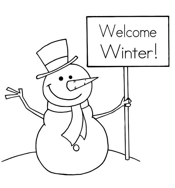 Winter Season, : Mr Snowman Says Happy Winter Season Coloring Page