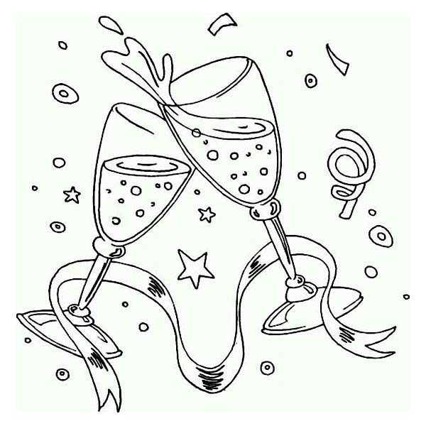New Year, : Perfect Toast for New Years Eve Wishes on 2015 New Year Coloring Page