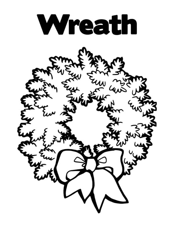 Christmas Wreaths, : Picture of Christmas Wreaths Coloring Pages