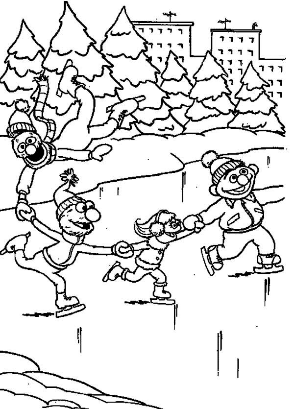 Winter Season, : Playing Ice Skates with Sesame Streets on Winter Season Coloring Page