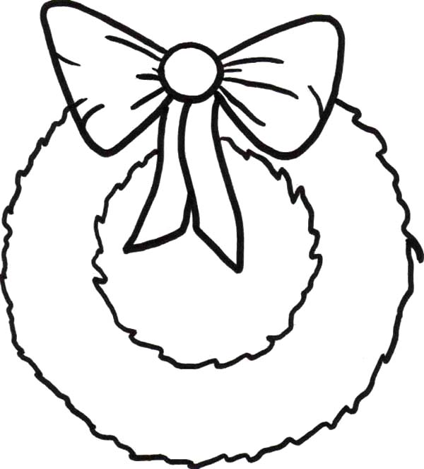 Christmas Wreaths, : Simple Christmas Wreaths with Ribbon Coloring Pages