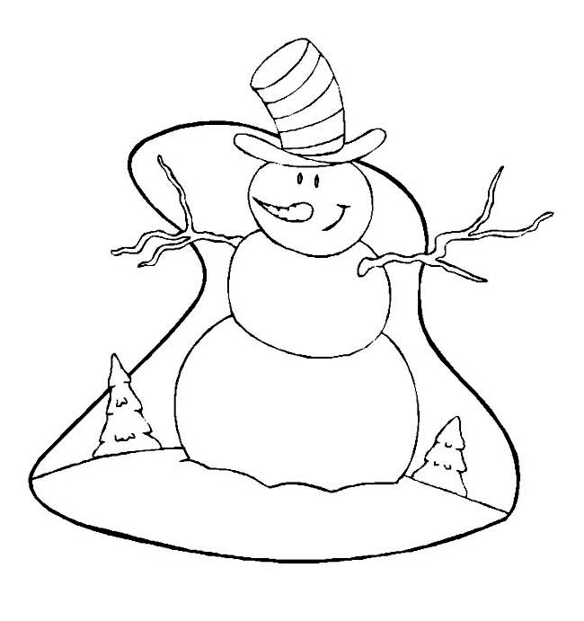 Winter Season, : Smiling Mr Snowman with Big Hat on Winter Season Coloring Page