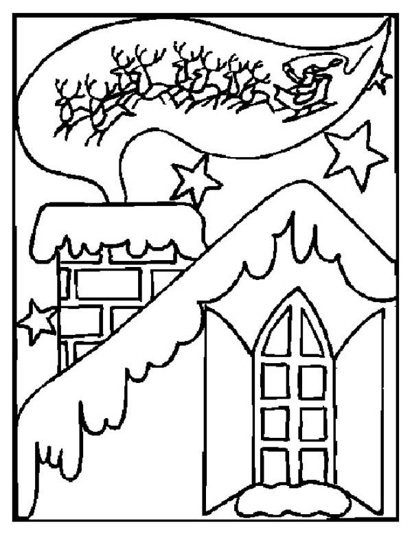 Winter Season, : Traditional Winter Season and Christmas Card Coloring Page