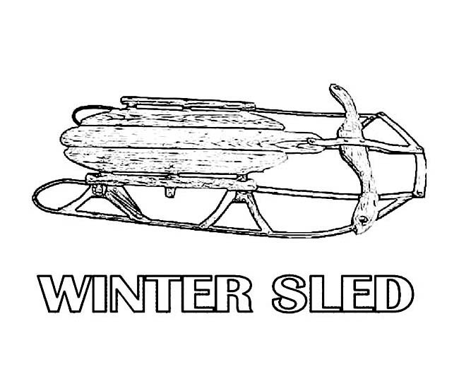 Winter Season, : Traditional Wooden Winter Season Sled Coloring Page