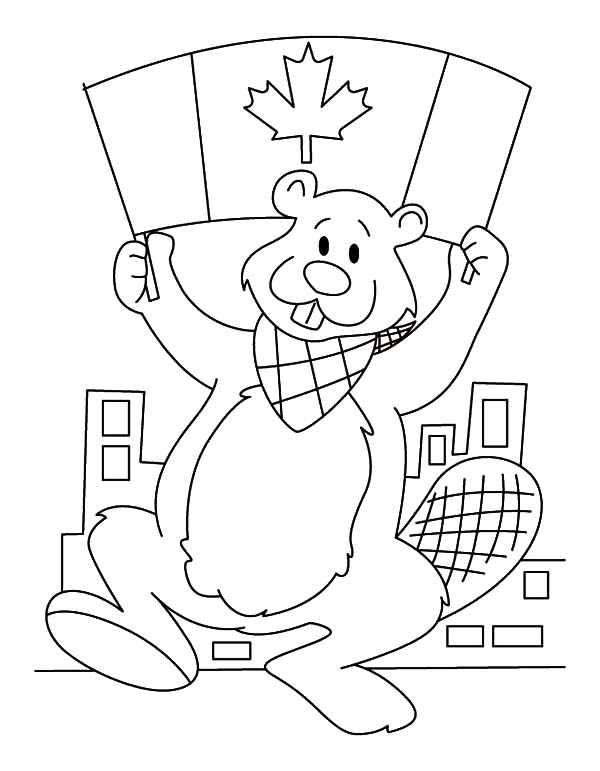 Canada Day, : A Beaver with National Flag on Canada Day Celebration Coloring Pages
