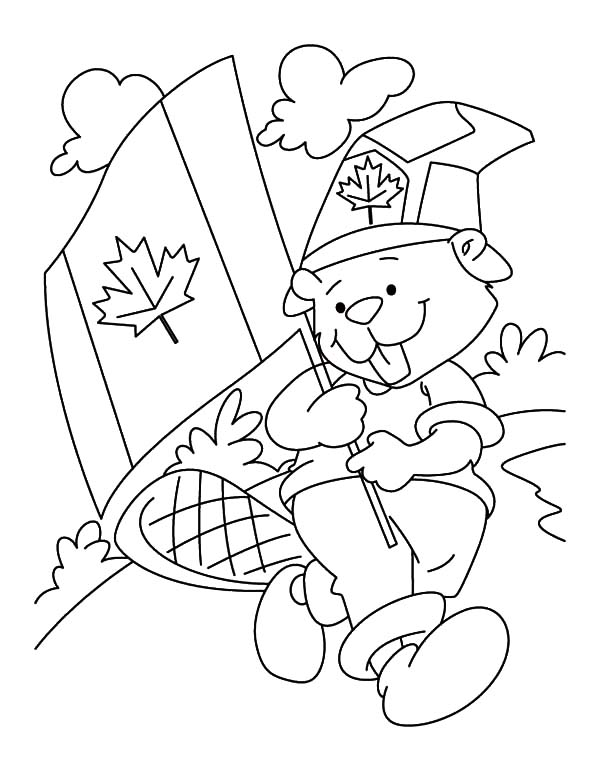 Canada Day, : Adorable Beaver Boyscout on Canada Day Celebration Coloring Pages