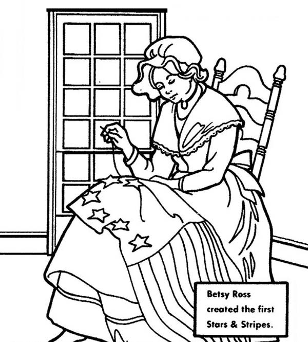 Independence Day, : Betsy Ross Making United States Flag for Independence Day Celebration Coloring Page