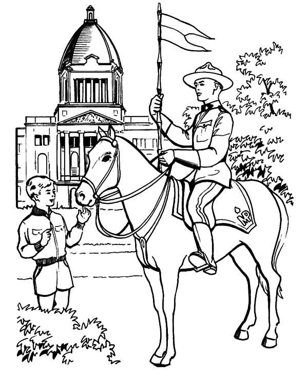 Canada Day, : Canadian Horse Guard on Canada Day Celebration Coloring Pages