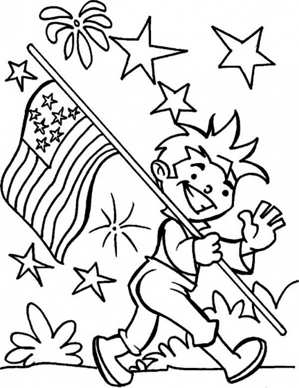 Independence Day, : Carrying United States Flag on Independence Day Celebration Coloring Page