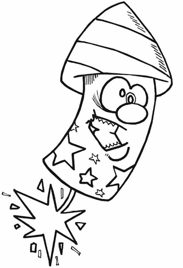 Independence Day, : Cartoon Firecracker on Independence Day Celebration Coloring Page