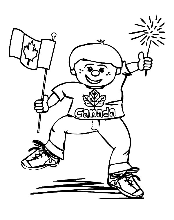 Canada Day, : Cheerful Little Kid on Canada Day Celebration Coloring Pages