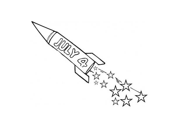 Independence Day, : Fireworks Rocket on Independence Day Celebration Coloring Page