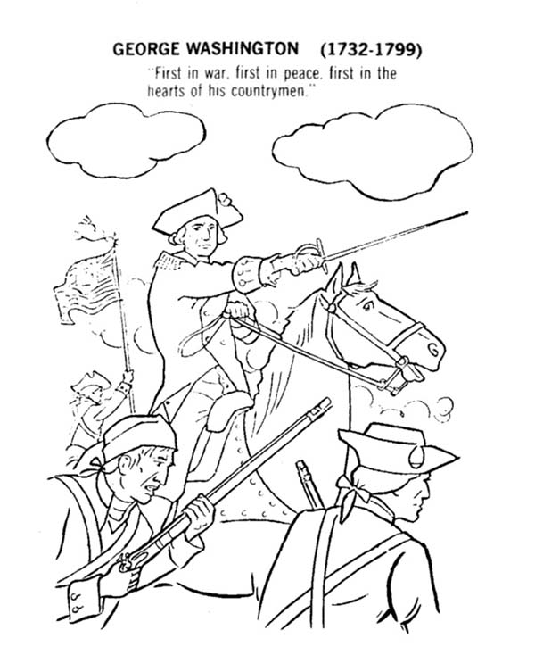 Independence Day, : George Washington Lead United States for Independence Day Coloring Page