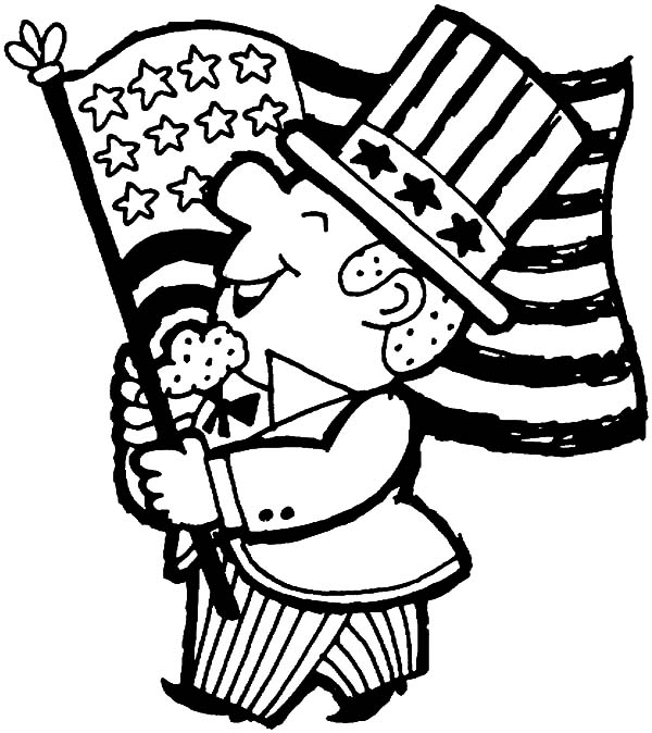 Independence Day, : Happy Independence Day Celebration Coloring Page