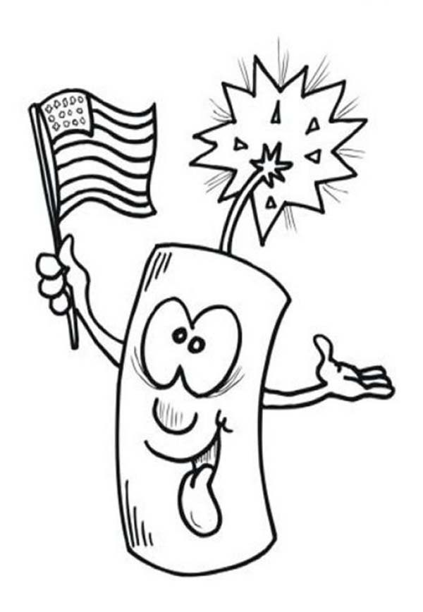 Independence Day, : Ligh firecracker on Independence Day Celebration Coloring Page
