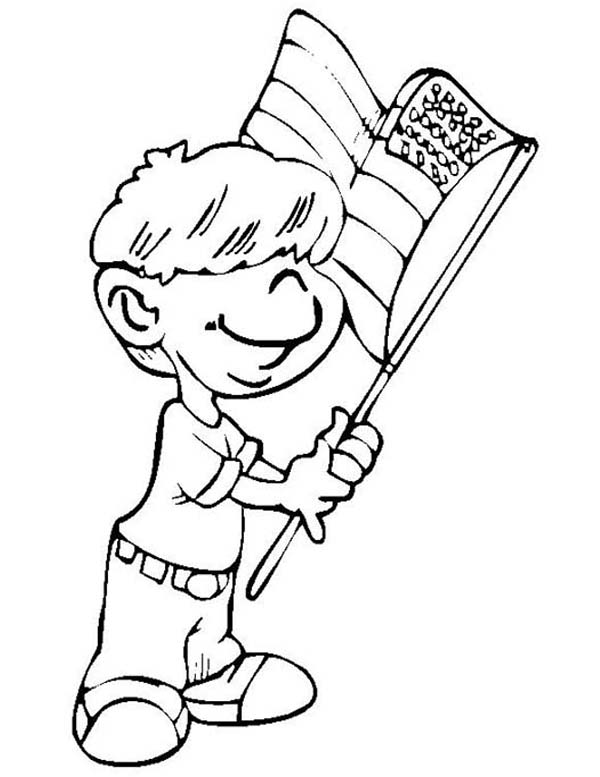 Independence Day, : Little Kid Waving Flag on Independence Day Celebration Coloring Page