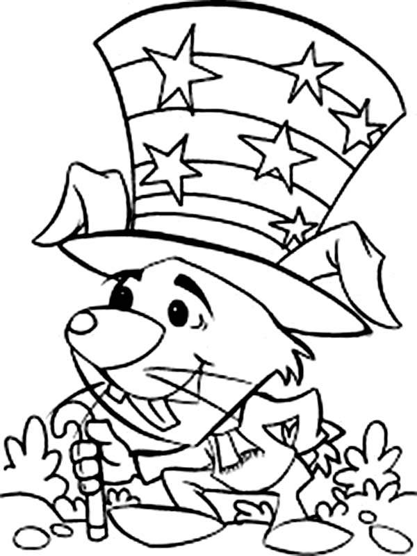 Independence Day, : Little Mouse Celebrating Independence Day Celebration Coloring Page