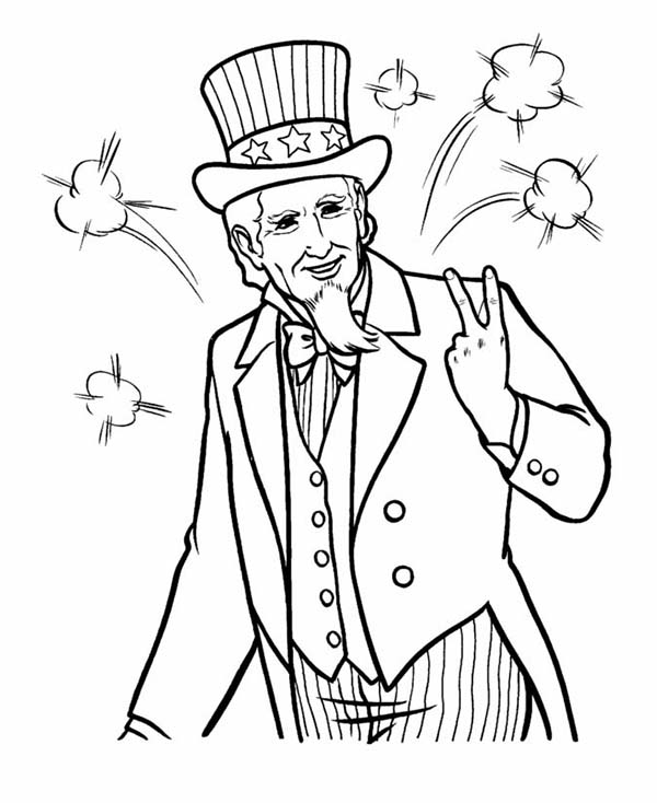 Independence Day, : Picture of Uncle Sam on Independence Day Celebration Coloring Page