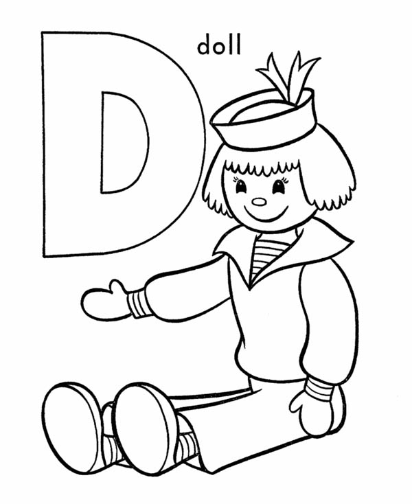 Letter D, : Alphabet Letter D for Doll Coloring Page