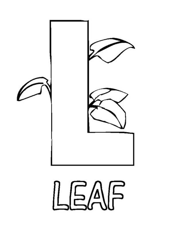 Letter l, : Alphabet Letter L for Leaf Coloring Page