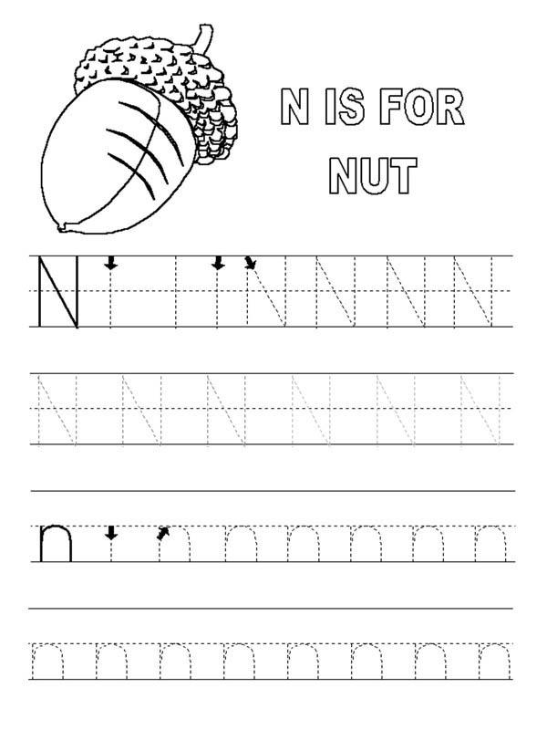 Letter n, : Alphabet Letter N for Nut Worksheet Coloring Page