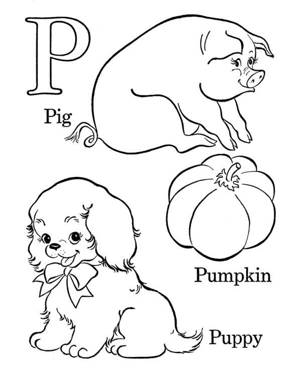 Letter p, : Alphabet Letter P Words Coloring Page
