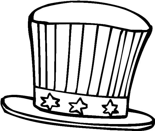 Hat, : American Flag Theme Hat Coloring Pages
