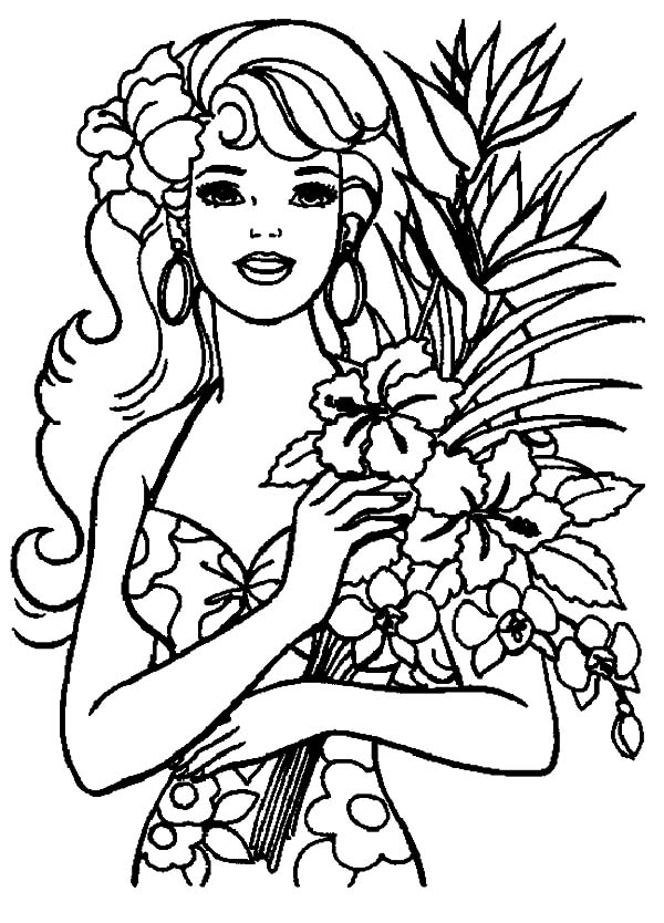 Hawaii, : Barbie Vacation to Hawaii Island Coloring Pages