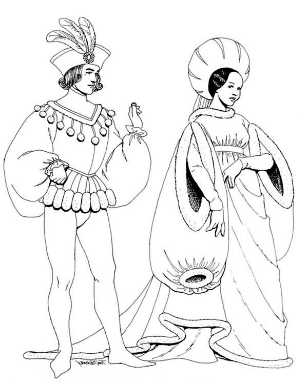 Renaissance, : Beautiful Fashion Renaissance Coloring Pages