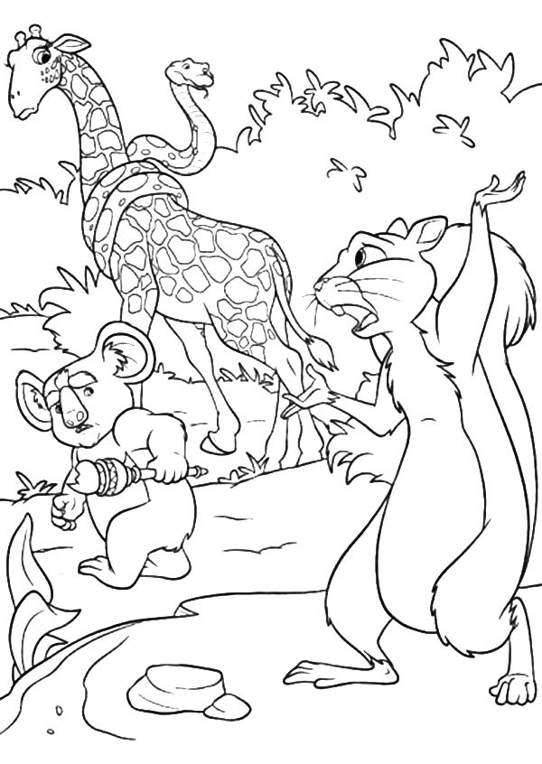 The Wild, : Benny Say Goodbye to Bridget Larry and Nigel Coloring Pages