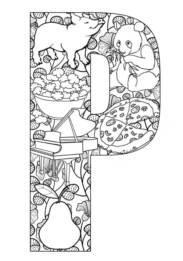 Letter p, : Big Case Letter P Coloring Page