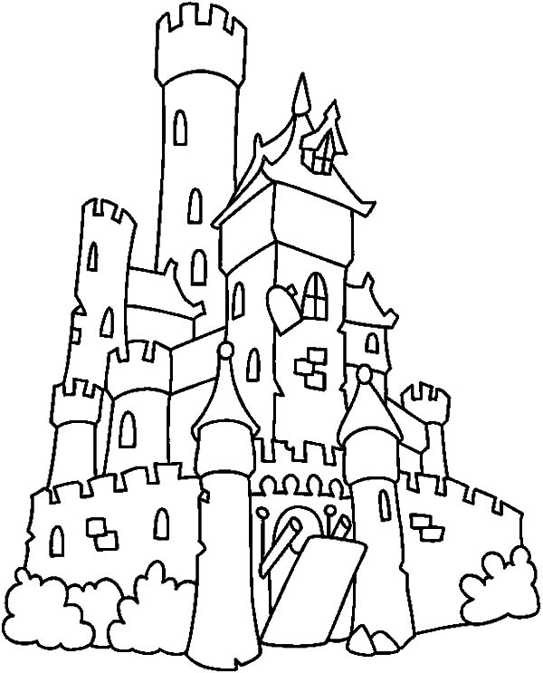 Haunted House, : Big Castle Haunted House Coloring Pages