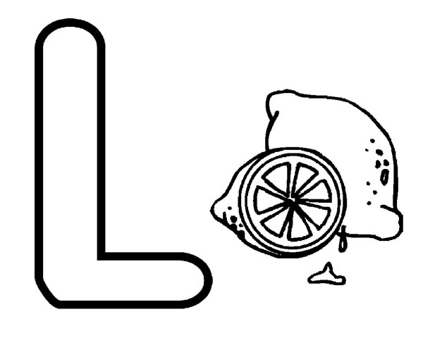 Big Letter L Coloring Page for Lemon Coloring Sun