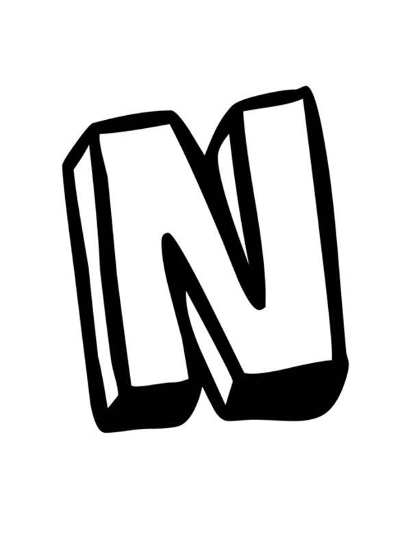 Letter n, : Big Letter N Coloring Page