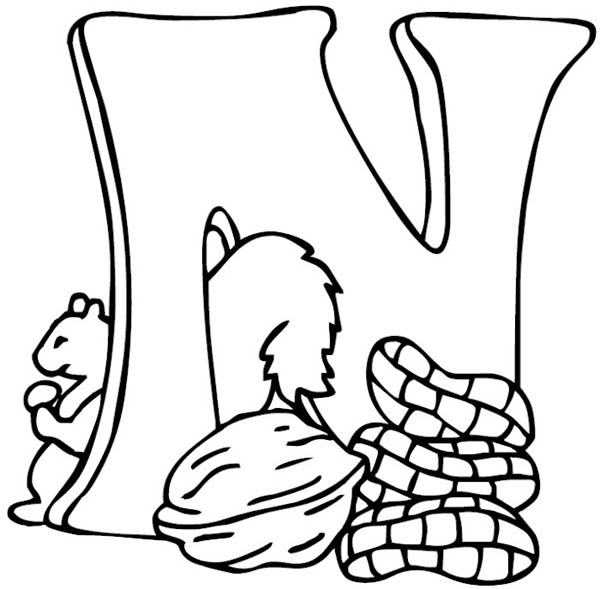 Letter n, : Big Letter N for Nut Coloring Page