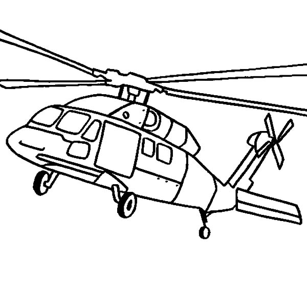 Helicopter, : Black Hawk Helicopter Coloring Pages