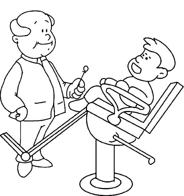 Health, : Boy Asking Dentist About His Dental Health Coloring Pages