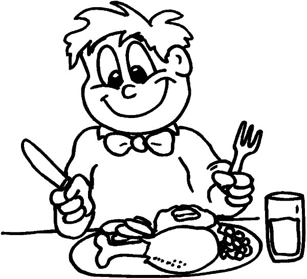 Healthy Eating, : Boy Eating Healthy Breakfast Coloring Pages