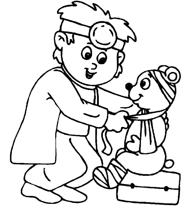 Health, : Bring My Bear Health Coloring Pages