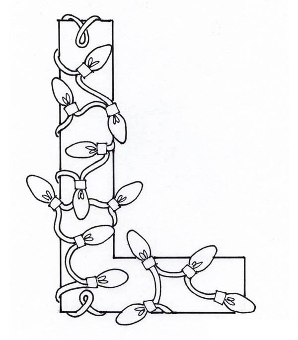 Letter l, : Capital Letter L for Light Coloring Page