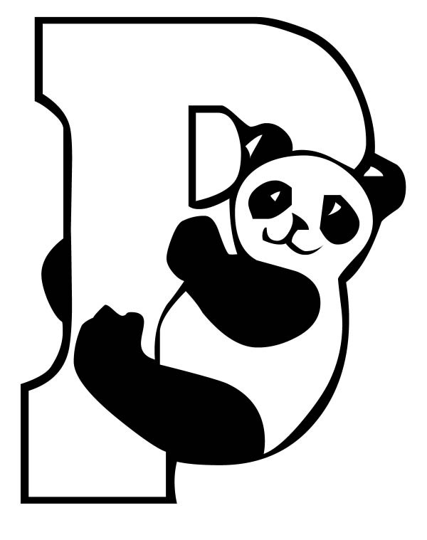 Letter p, : Capital Letter P for Panda Coloring Page
