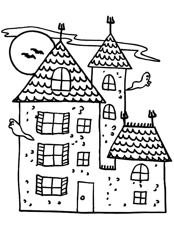 Haunted House, : Cartoon Haunted House Coloring Pages