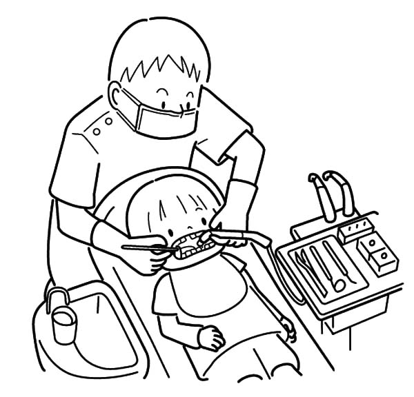Health, : Checking Teeth Health Coloring Pages
