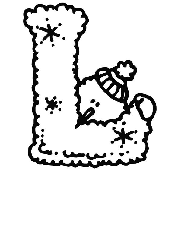 Letter l, : Christmas Letter L Coloring Page