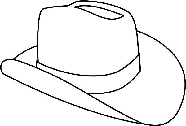 Hat, : Cowboy Hat Outline Coloring Pages