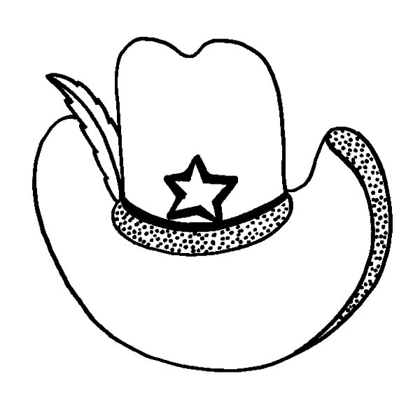 Hat, : Cowboy Hat with Badge Coloring Pages